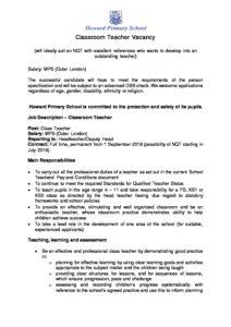 nqt vacancy job description and person spec howard primary school